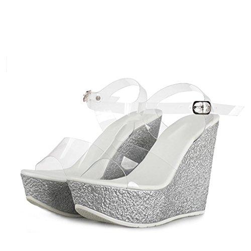 W&LMScarpe Tacchi alti sandali Trasparente Cunei Spessore inferiore Aprire il piede Scarpe sciolte Sandali all'aperto Scarpe da lavoro Pantofole fresche da banchetto Silver