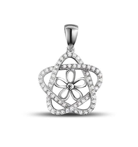 Gowe 14K Full Cut Diamant eine 8,5mm Runde Perle Anhänger Einstellungen Größenverstellbar Diamant-runder Anhänger