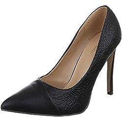 Damen Schuhe, Z082, PUMPS, KLASSISCHE HIGH HEELS, Synthetik in hochwertiger Lederoptik , Schwarz, Gr 38