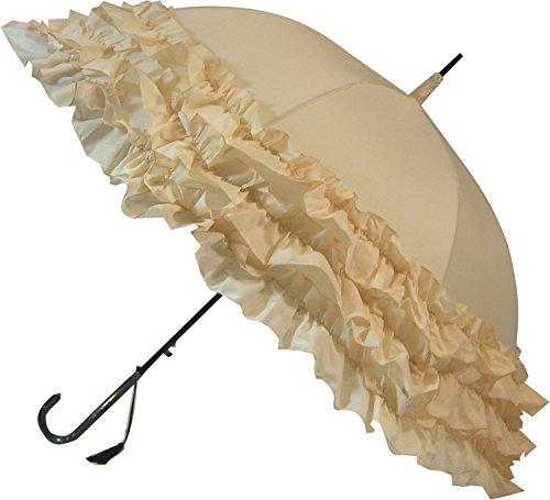 3-fach gerüschter Regenschirm / Hochzeitsschirm in Beige