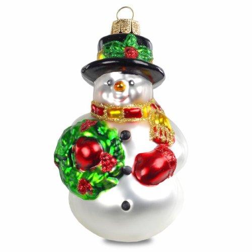 SIKORA BS190 Schneemann mit Kranz Christbaumschmuck Glas Figur Weihnachtsbaum Anhänger