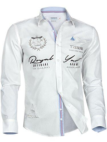 Trisens Herren Hemd Shirt BESTRICKT Stickerei Langarm Baumwolle Polo Party, Farbe:Weiß, Größe:L