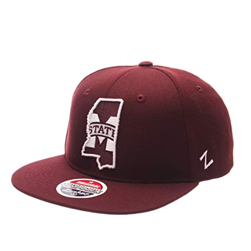 ZHATS Z11 Statement 6-Panel Snapback Cap - NCAA Zephyr Flat Bill, One Size Adjustable Baseball Hat, Mississippi State Bulldogs -