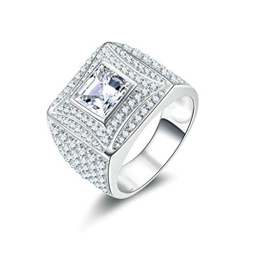 Daesar Silberring Herren Ring Silber Trauring Benutzerdefinierte Ring Platz Strass Ring Größe:62 (Kostüme Halo Benutzerdefinierte)