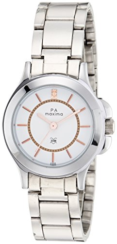 Maxima Analog White Dial Women's Watch - 42904CMLI