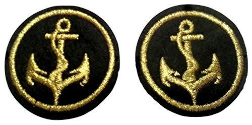 b2see Aufnäher Iron on Patches für Jacken Jeans Kleidung Aufbügler Wappen Applikation Stickerei Set Marine Maritim Anker Schwarz Gold 4 cm 2 Stueck