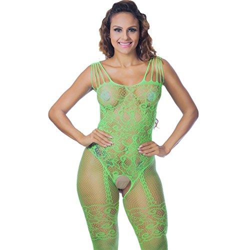 YURIO Frauen Spitze nkleid Bodysuit Dessous Lingerie Babydoll Nachtwäsche Reizwäsche Transparente Nightwear Versuchung Blumen Push-Up BH Unterwäsche Erotisch Underwear (Grün, 80-120cm/31.5-47.3