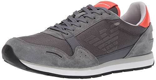 Emporio Armani Herren Lace-Up Sneaker Turnschuh, grau, 43 EU
