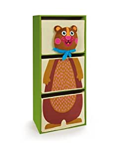 Oops Little Helper Wooden Storage Drawers with Super Cute 4D Bear Finish (Set of 3, Green, Large)