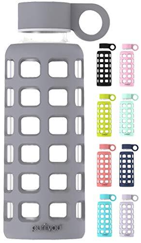purifyou Glas-Wasserflasche mit Silikonhülle und Edelstahl-Deckeleinsatz 340 g Pastel Gray