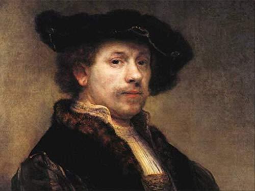 VNKLIN Künstler-Perfektes Ursprüngliches Kunst-Handgemaltes Ölgemälde 24X20In Auf Segeltuch: Porträt des Niederländischen Künstlers Rembrandt.