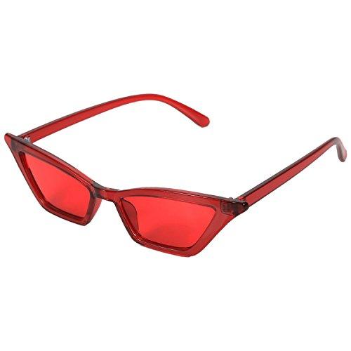 TOOGOO Gafas de sol vintage Gafas de sol de lujo de ojo de gato de mujer Gafas de sol de senora pequenas retro Gafas negras S17077 rojo