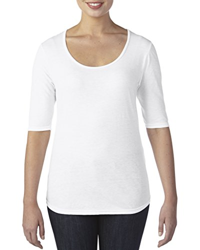 Anvil Women's Tri-Blend Deep Scoop 1/2 Sleeve Tee White
