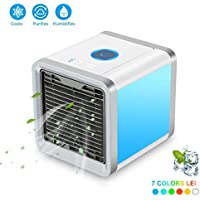 Air Cooler, Arctic Air, Personal Space Cooler, 3-in-1 Portable Mini Air Cooler, Humidifier & Purifier with 3 Speeds and 7 Colors LED Lights for Bedroom, Office