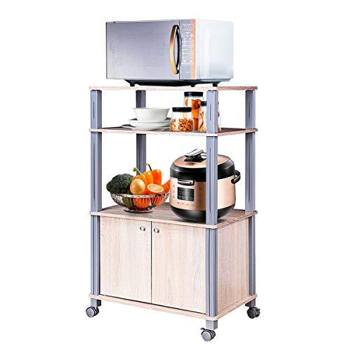 COSTWAY Küchenregal für Mikrowelle, Mikrowellenregal auf Rollen, Standregal Küche, Küchenwagen Beistellwagen Haushaltsregal (Hellbraun)