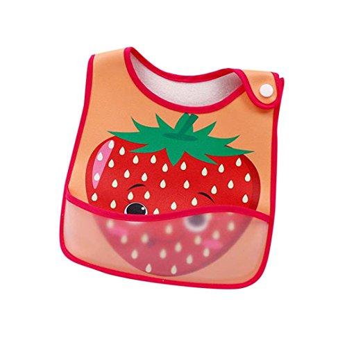 Baby-Lätzchen, wasserfest, leicht abwischbar, für 0-2 Jahre, für Jungen, Mädchen, bequem, weiches Babylätzchen, hält Flecken fern, Cartoon-Obst-Druck, Bandana Sabber-Lätzchen für Kleinkinder (D) Einheitsgröße B