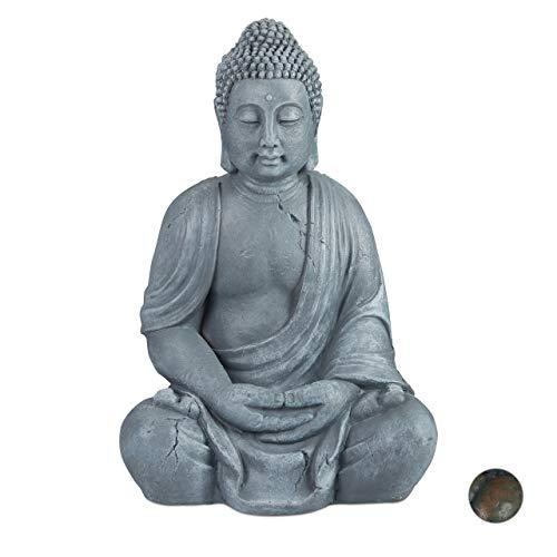 Relaxdays Buddha Figur sitzend, XL 70 cm, Gartenfigur, Dekofigur Wohnzimmer, Keramik, wetterfest, frostsicher, hellgrau