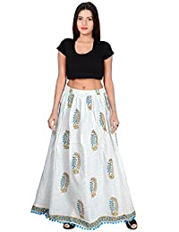 Fabcolors Smoothy And Silky Block Printed Cotton Long Skirt With Bottom PomPom Art Work (White And Blue)