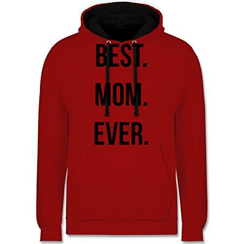 Muttertag - Best Mom Ever - Kontrast Hoodie Rot/Schwarz