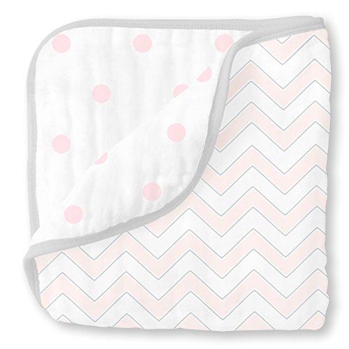 SwaddleDesigns Muselina de 4capas Luxe–Manta, color rosa pastel Chevron/francés lunares, Cuddle y sueño