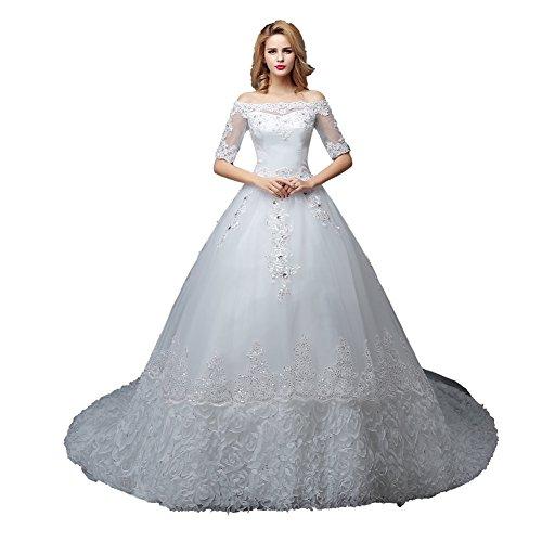 Wewind Damen 1/2 Ärmel Hochzeitkleid Schulterfrei Brautkleid mit Schleppe Brautmode Schmucksteine Prinzessin-Stil - ärmeln Brautkleider