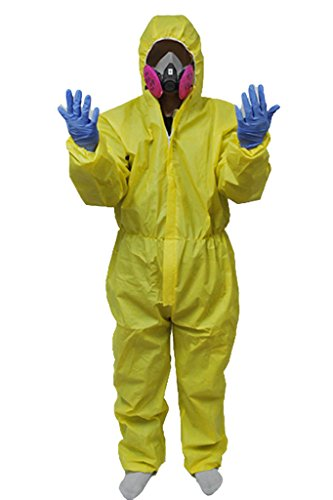 Lab Breaking Kostüme Bad (Breaking Bad Hazmat Lab Walter White Jumpsuit Cosplay Kostüm mit Halbmaske)