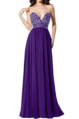Sunvary Sexy Neu Herzform Chiffon Perlen Abendkleid Lang Ballkleider Violett