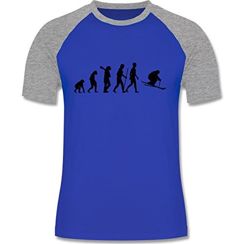 Shirtracer Evolution - Skiabfahrt Evolution - Herren Baseball Shirt  Royalblau/Grau meliert