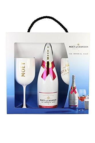 Moet & Chandon Ice Imperial Rosé Champagner Set Geschenk Set Gift Set mit 2 Gläsern (1 x 0.75 l)