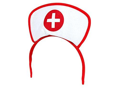 Alsino Krankenschwester Damen Outfit Haarreif - Farbe: Weiß rot Arzt - Schicke Haube mit Kreuz (Rote Krankenschwester Outfit)