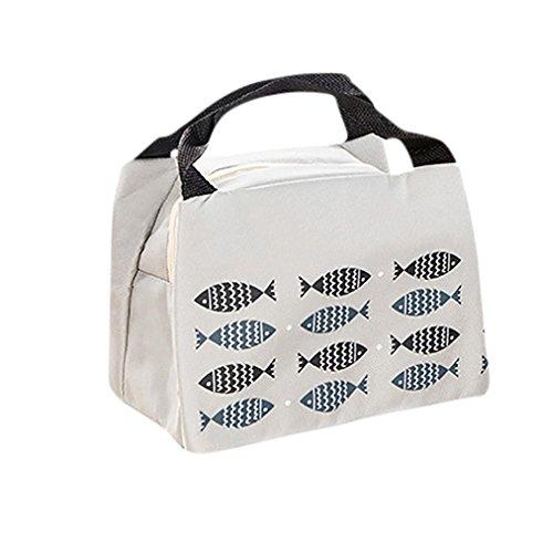Coloré(TM) Sac Repas Lunch Bag Sac repas isotherme, Déjeuner imperméable portatif de sacs de déjeuner de tissu d'Oxford de paquet d'isolation avec le riz (Gris)