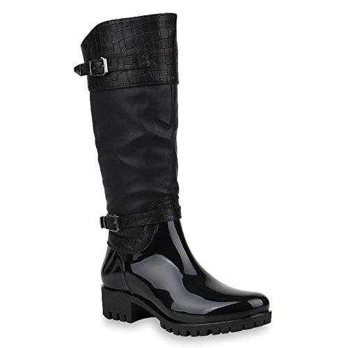 Damen Schuhe Gummistiefel Leicht Gefüttert Stiefel Lack Regenschuhe 153233 Schwarz Bernice 39   Flandell® (Winter Stiefel Gummi)