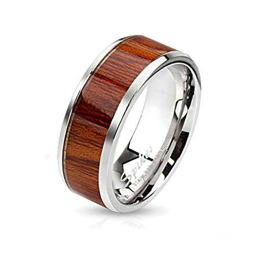 BlackAmazement Unisex Edelstahl Ring Rosen Holz Wood Inlay Band Ring silber Herren Damen braun Rose (55 (17.5))
