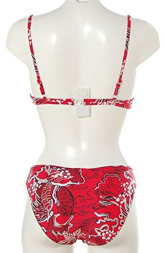 Blue Chips Damen DESIGN Bügel Bikini mit Print BEACHWEAR Damen Rot/Silber/Schwarz