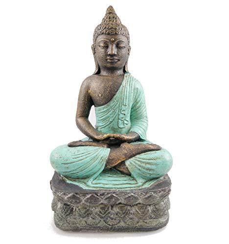 Artesanal - Estatua Buda Piedra 40 cm Color Turquesa
