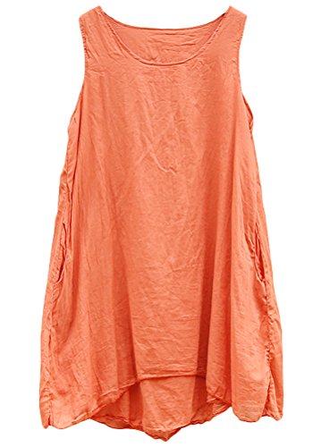 MatchLife Damen Baumwoll Ärmellos Shirt Bluse Tank Tops Orange