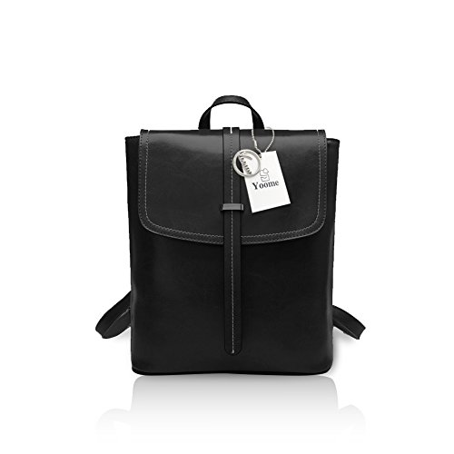 4439d48594ef Yoome Mujeres Oil Wax Vintage Leather Mochila Flapover Ladies Shoulder Bag  Hasp Bolso Negro