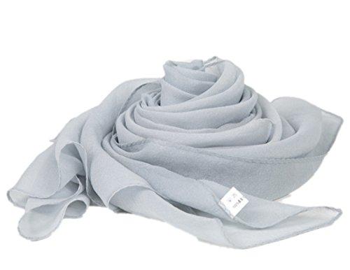Prettystern sciarpa di seta lunga da donna stola filo di metallo argentato iridescente tinta unita grigio argento