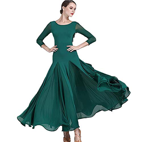 ZTXY 2018 Originaldesigns tanzkleid zurück Falbala dunkelgrün Latin Belly Dance Kostüm voluminös Rock Large Size XL ()