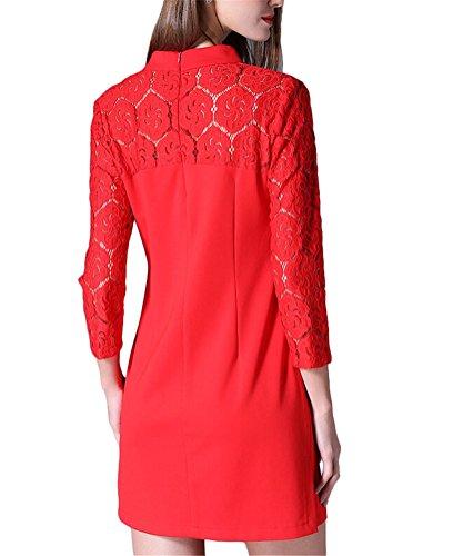 Brinny Femme Rétro Vintage Col Debout Cheongsam Robe élégante 3/4 Manches Dentelle divisé ourlet Slim Fit élasticité A-line Robe Dress Noir / Rouge 5 Taille: XL-5XL Rouge