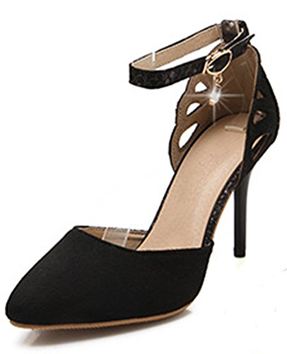 Aisun Damen Elegant Cut-Out Nubukleder Geschlossen Pointed Toe Stiletto Sandalen Schwarz