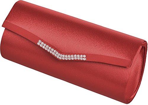 FARRAH - Elegante Damen Clutch mit diamanten Effekt Rot