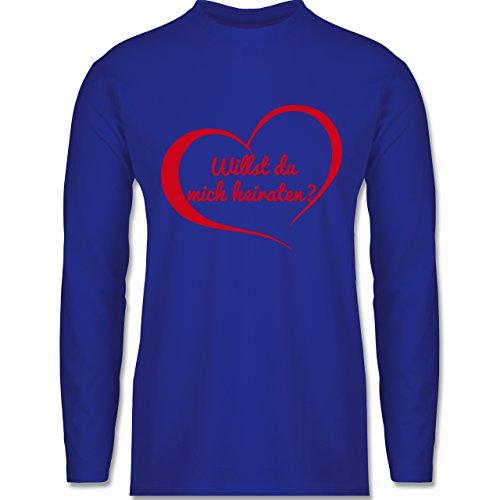 Shirtracer Valentinstag - Willst Du Mich Heiraten? Herz - Herren Langarmshirt Royalblau