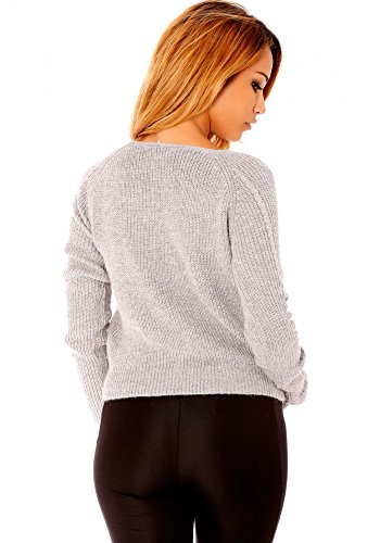 dmarkevous - Gilet court style tricot gris Gris