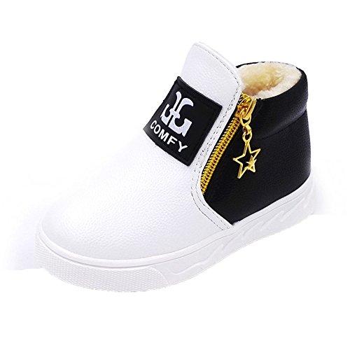 Kobay Kinder Lässig Sport Junge Mädchen Mode Stiefel Turnschuhe Herbstschuhe (25 / 3Jahr, Weiß) Fleece Sleeveless Zip
