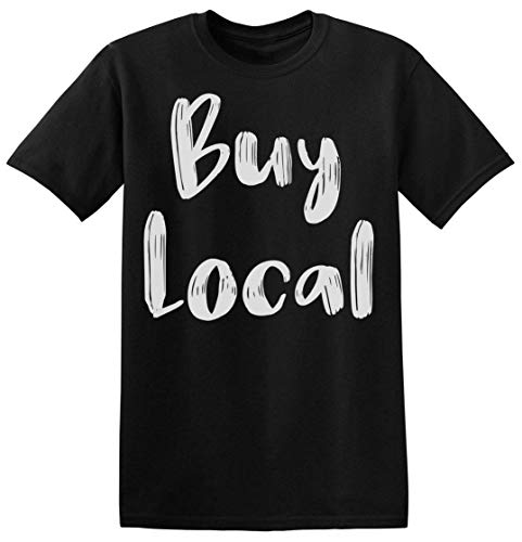 Buy Local Minimal Hand Written Statement Herren T-Shirt Small -