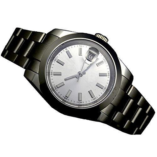 Mechanische Herren-Armbanduhr, 41 mm, weißes Zifferblatt, Saphirglas, Edelstahl, mechanisch