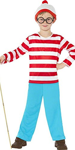 Jungen Kinder Kostüm Wheres Wally Plus Gläser alle Größen (Waldo Kostüm Zubehör)