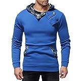 Challeng Sweatshirts Herren Herbst Denim Jacke mit Kapuze Vintage Distressed Tops Mantel Outwear Gutscheine (M, Blau)