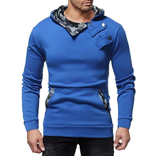 Challeng Sweatshirts Herren Herbst Denim Jacke mit Kapuze Vintage Distressed Tops Mantel Outwear Gutscheine (M, Blau) (Gutscheine Und M M)